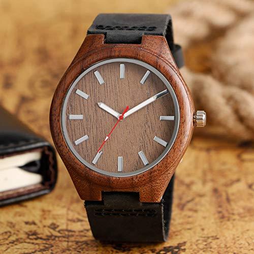 RWJFH Reloj de Madera Relojes Deportivos de Moda de Cuarzo de Madera analógica para Hombre, Reloj de Pulsera Informal de bambú con Banda de Cuero para Mujer