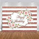 Mocsicka Pink Rose Happy Birthday Backdrop Gold and White Stripes Floral Background Adult Women 30th 40th 50th Birthday Party Decoration Sweet Cake Table Banner Photo (5x3ft)
