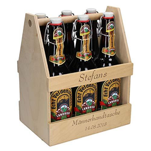 Uakeii Personalisierter Bierflaschenträger aus Holz mit Gravur Sixpack Bierträger für 6 Flaschen 0,5l & 0,33l Kellertaxi für Bier