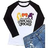 bingyu It's All a Bunch of Hocus Pocus - Camiseta de Halloween para mujer, manga 3/4, diseño de Sanderson Sisters, Grey, Bronce.,
