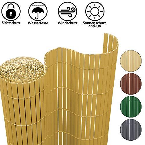 Hengda PVC Sichtschutzmatte Sichtschutz Garten Sichtschutzzaun Sichtschutzn Balkon Zaun, UV-beständig Sichtschutz für Garten Swimming Pools Balkon, Bambus(100 x 700 cm)