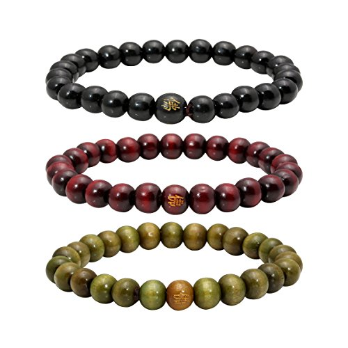 Eigso 8mm Wood Beads Bracelets Prayer Beads for Meditation Buddhist Link Wrist for Men and Women