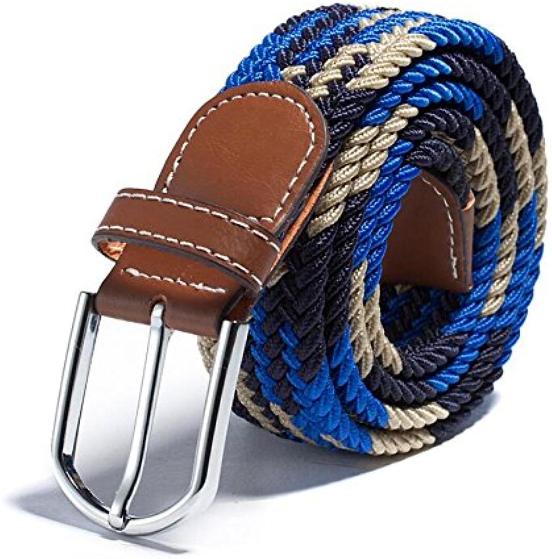 PDAI@,Men's elastic belt, fashion women's needle buckle loose tide belt, canvas woven belt, leisure,105  3.3cm
