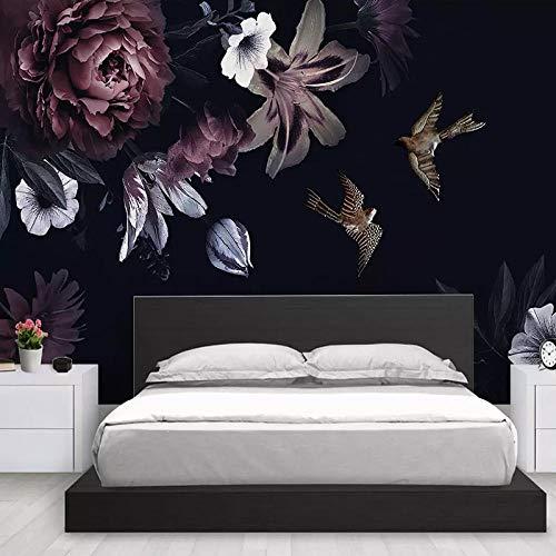 Fotobehang wandschilderij behang 3D zwart bloemen handgeschilderd pioenroos muurschilderij woonkamer tv sofa achtergrond muur wooncultuur frezen 250cm (W) x 175cm (H)