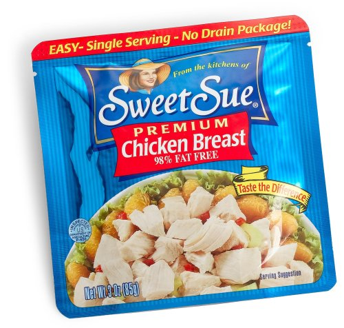 SWEET SUE Premium Chicken Breast, 3 Ounce Pouch (Pack of 18), Easy to Open and Ready to Eat, Gluten Free, High Protein, Keto Food, Keto Snacks, Paleo Diet Food, 98% Fat Free
