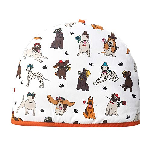 Tea Cosy 100% Cotton Teapot Insulated Cover Warmer Kitchen Dogs Novelty Just in- 35x27x3 cm