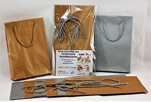 Sac sac papier kraft 90g² cm 22+ 6x 40couleurs assorties avec cordon autobloquante coordonné