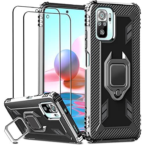 IMBZBK Cover per Xiaomi Redmi Note 10 4G/ Note 10S Custodia + [2 Pezzi] Vetro Temperato Pellicola Protettiva, [Cavalletto per Anello di Rotazione a 360 Gradi] [Mil-Grade Protection] - Nero