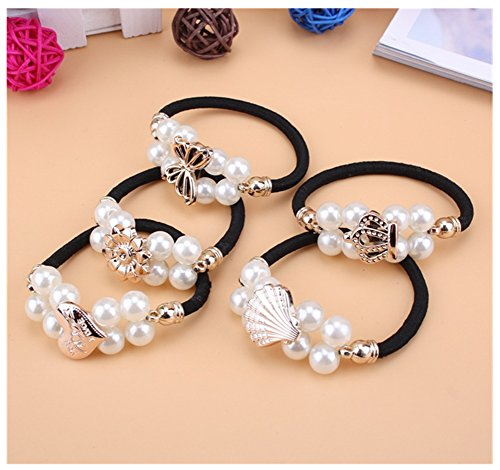 Lovef 8 Pcs Boutique White Pearl Hair Rope Headband All-match Ponytail Holder Hair Ring Elastic Rubber Band Headwear Appeal Hair Tie Hair Beauty Headdress Hair Accessories