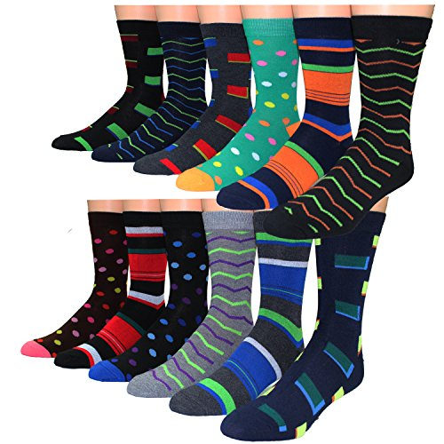 Frenchic Men#039s Premium Cotton Blend Colorful Patterned Dress Socks 12 Pairs DS1