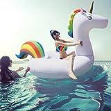 Asamoom ユニコーン浮き輪 大きい浮き輪 強い浮力フロート 快速エアバルブ 大人用浮き輪 子供用浮き輪 飾りアート写真おもちゃ 海 プール 海水浴最適 200x100x90 cm