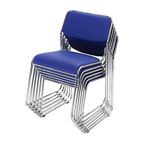 6脚セットミーティングチェア会議イス会議椅子スタッキングチェアパイプチェアパイプイスパイプ椅子ダークブルー