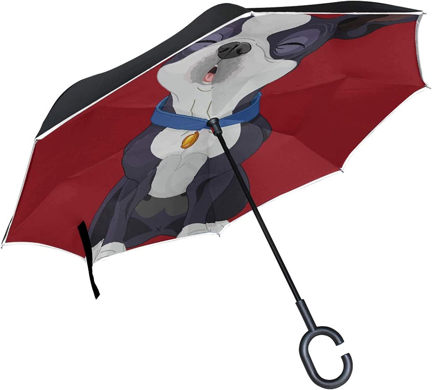 Double Layer Ingreened Illustration Howling Cute Boston Terrier Umbrellas Reverse Folding Umbrella Windproof Uv Predection Big Straight Umbrella for Car Rain Outdoor with CShaped Handle