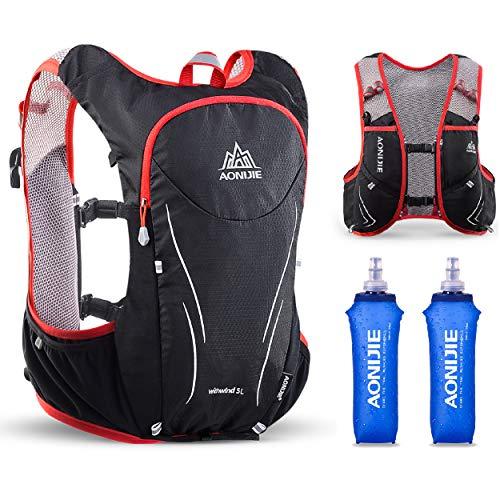 TRIWONDER Mochila de Hidratación Ligero 5L Superior Chaleco para Trail Running Ciclismo Marathoner Profesional Hombre Mujer (Negro y Rojo - con 2 Botellas Blandas de 500ml, M L - 88-100cm)