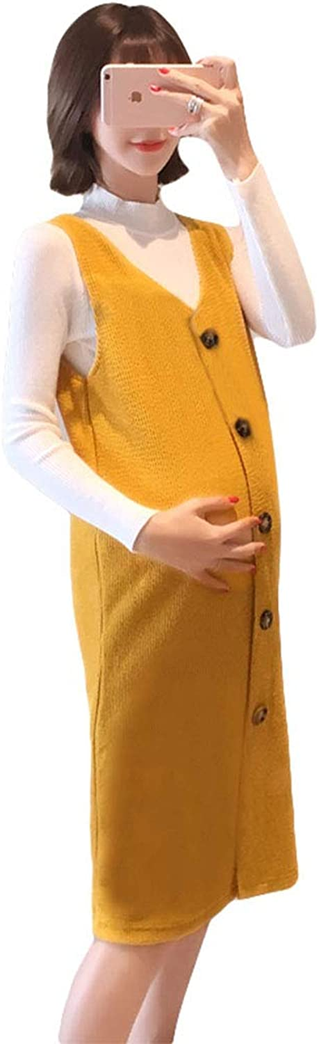 Casual Maternity Clothes Spring and Autumn Skirt Elegant Yellow Dress Knitted Sleeveless Loose Pregnancy Clothes Soft and Snug Pregnant Women Gift Wear to Work (color   Yellow, Size   XXL)