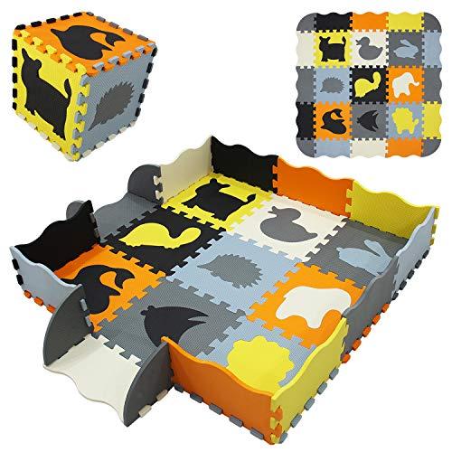 qqpp Alfombra Puzzle para Niños Bebe Infantil - Suelo de Goma EVA Suave. 9 Piezas (30*30*1cm), 16 Piezas de Valla, Animales. QQP-54b9F16