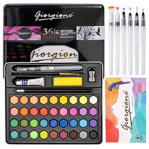 Juegos de Pintura de Acuarela 36 Colores Vivos de Pigmentos, Set de Acuarelas Profesionales, Incluye 8 Pinceles Acuarelas, 1 Libreta, Lápiz y Esponja, Ideal para Niños,Estudiantes y Profesionales