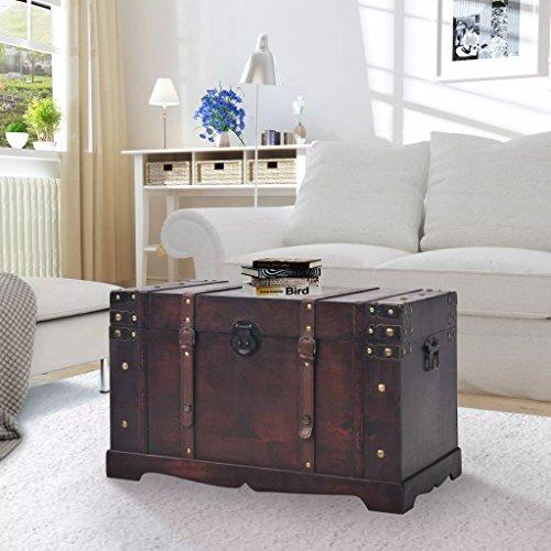 Festnight Aufbewahrungstruhe Holztruhe | Retro Schatzkiste Spielzeugkiste Truhe für Wohnzimmer Schlafzimmer, Holz 66 x 38 x 40 cm Braun