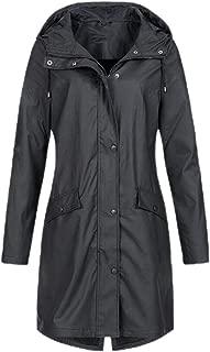 Women Waterproof Raincoat Lightweight Rain Jacket Hooded Windbreaker Outwears