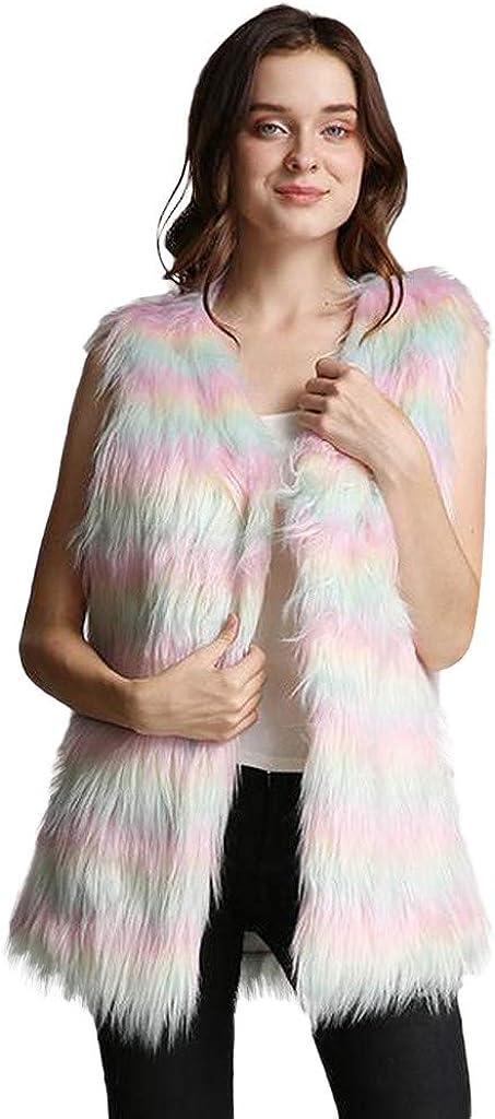 Gergeos Womens Vest Casual Faux Fur Sherpa Jacket Winter Sleeveless Outwear Warm Open Front Loose Coat