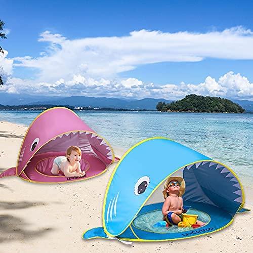 Tienda Playa Bebe, Pop-up Tiendas de Campaña con Piscina para bebé Niños Carpa Automática Plegable Portátil Anti UV 50+ Protector Solar, para niños de 3 a 36 Meses Tiburón (Rosada)