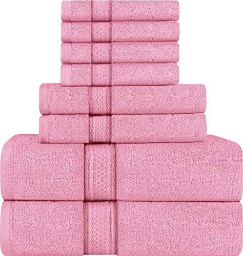 Utopia Towels - Juego de Toallas; 2 Toallas de baño, 2 Toallas de Mano y 4 toallitas - 100% Algodón (Rosa)