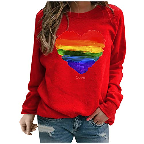 YANFANG Sudadera sin Capucha para Mujer, Moda Mujer Manga Larga Amor con Estampado de corazón de Color sólido Sweatershirt Blusa Suelta Tops, Red,L