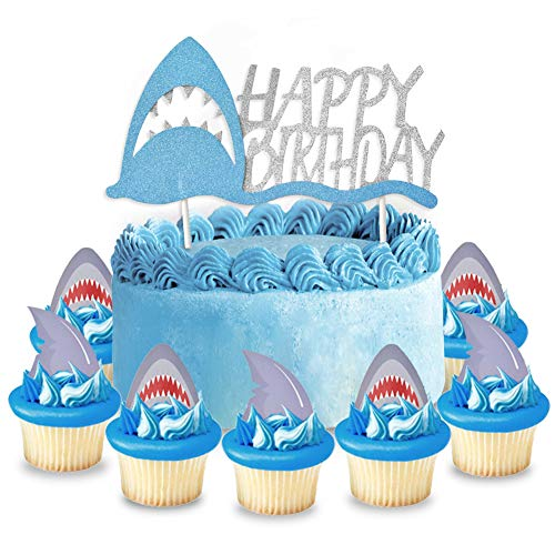 Ein Haifisch Cake Topper Tortenaufsätze Geburtstag Glitter + Haifischzähne Cupcake Toppers X 24 für Geburtstag Party Supplies