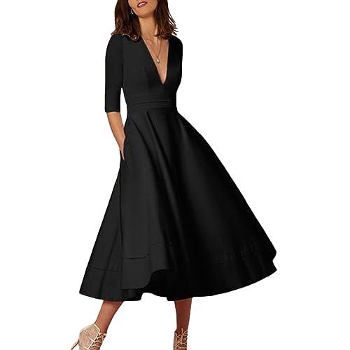b4551b91400 OMZIN Women Deep V Neck Cocktail Banquet Bridesmaid Party Dresses Gown Plus  Size