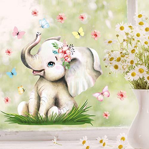 Wandtattoo Loft Fensterbild Frühling Ostern wiederverwendbar Fensteraufkleber Kinderzimmer / 4. Elefant mit Schmetterlingen (13035) / 1. DIN A4 Bogen