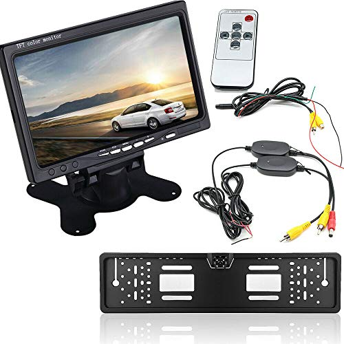 Auto Funk 4 LED Rückansicht Rückfahrkamera 7 Zoll LCD Monitor 4-LED 170° Kamera IR Nummernschild Wasserdichte Rückfahrsystem 12V