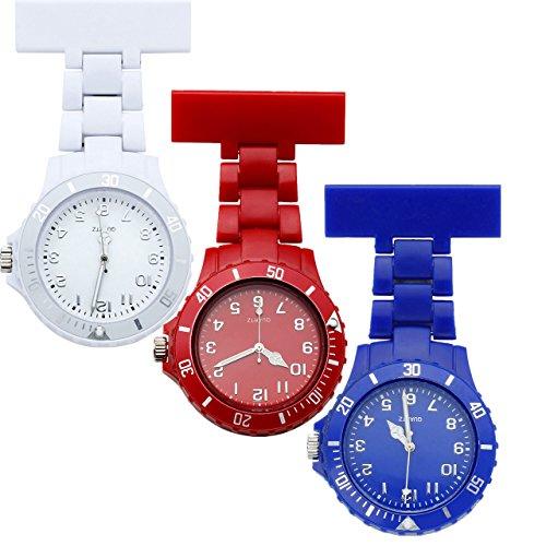 JSDDE Uhren Einfache Schwesternuhren Candy Farbe Krankenschwesteruhr FOB-Uhr Silikon Hülle Pulsuhr Pflegeuhr Brosche Taschenuhr Ansteckuhr Analog Quarzuhr (Weiß+Rot+Blau)
