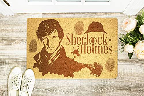 StarlingShop Sherlock Holmes - Felpudo de bienvenida, diseño de Sherlock Holmes, ideal para decoración al aire libre, regalo de cumpleaños
