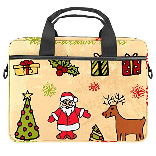 Laptop Bag Merry Christmas Card Notebook Sleeve with Handle 13.4-14.5 inches Carrying Shoulder Bag Briefcase