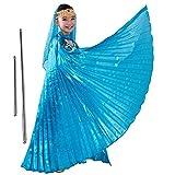 Isis Flügel Kinder mit Stangen Tanzen Performance (Blau)