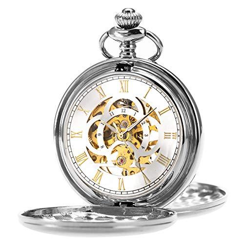 ManChDa Reloj de Bolsillo Retro Suave Clásico Mecánico
