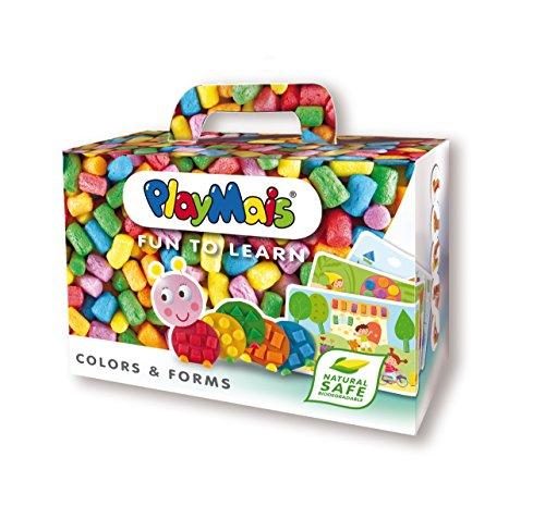 PlayMais FUN TO LEARN Colors & Forms Bastel-Set für Kinder ab 3 Jahren | Motorik-Spielzeug mit 550 Stück & 14 Motiv-Vorlagen zum Basteln | Fördert Kreativität & Feinmotorik | Natürliches Spielzeug