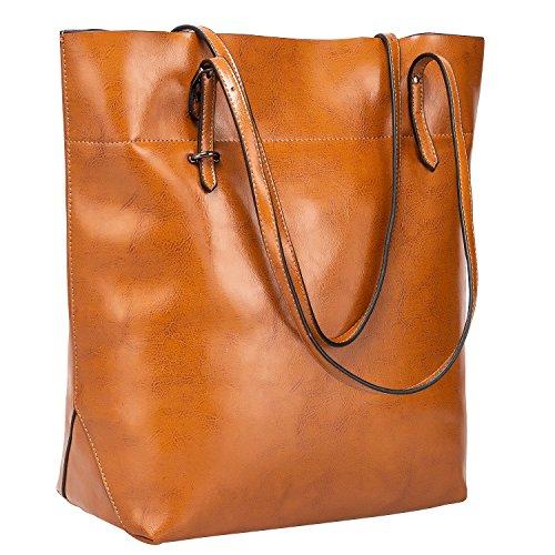 S-ZONE Damen Echtleder Tasche Shopper Groß Tote Handtasche Henkeltasche (B-braun)