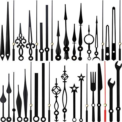 14 Estilos Mecanismo de Movimiento de Reloj, Manecillas sin Tictac, Manecillas de Reloj Hechas de Aluminio, Piezas Reparación DIY Reemplazo para Reparación Relojes, 14 Tipos Tamaño, Negro