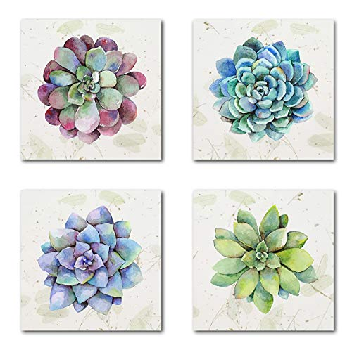 Yatehui Succulent Plants Wall Art Simple Life Canvas Giclee Prints 4 Pieces Watercolor Hand-Drawn Colorful Leaf Pictures Botanical Paintings for Living Room Kitchen Decor 12 x 12 Inches