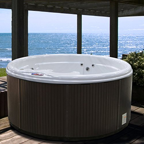 American Spas Patio Am-511Rs (5 Person) 11 Jet Round Spa, Sterling and Smoke