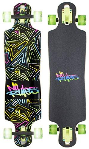 authentic sports & toys GmbH Unisex Abec 7, No Rules Neon, mit Leuchtrollen Longboard, Bunt, Einheitsgröße