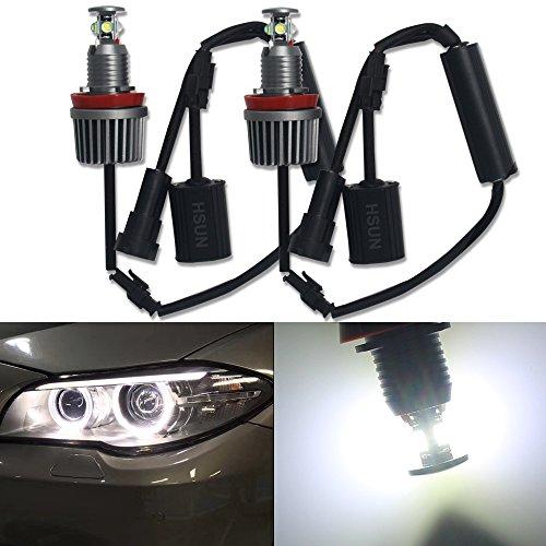 HSUN E92 H8 Ampoule de Marquage à LED Angel Eyes 6000K Blanc Ampoules Ultra Lumineuses 8000LM Haute Puissance avec Décodeur Canbus Sans Erreur