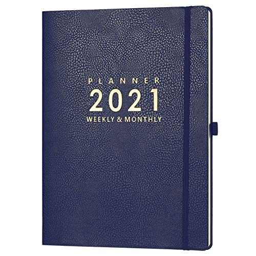 Jan 2021 - Dec 2021 Planner with Pen Holder - 8.5' x 11' Weekly & Monthly Planner with Calendar Stickers, Jan 2021 - Dec 2021, Inner Pocket with 24 Notes Pages, A4 Premium Thicker Paper
