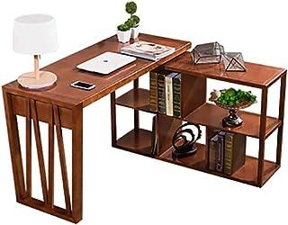 Dagelijkse uitrusting Rustiek houten hoekbureau L-vormig computerbureau met opbergplanken Stabiel massief houten frame Sch...