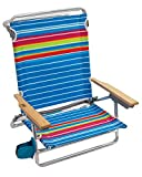 Rio Brands Beach Classic 5 Position Lay Flat Folding Beach Chair - Graphic Traffic Blue/White/Multi Stripe, 8.5'