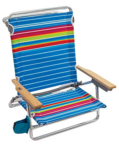 Rio Brands Beach Classic 5 Position Lay Flat Folding Beach Chair - Graphic Traffic Blue White Multi Stripe, 8.5