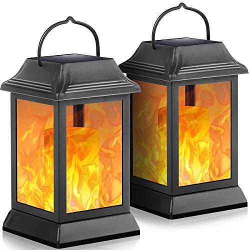 TomCare Solar Lights Metal Flickering Flame Solar Lantern Outdoor Hanging Lanterns Decorative Lighting Heavy Duty Solar Powered Waterproof Umbrella Lighting for Garden Patio Deck Yard, 2 Pack(Black)