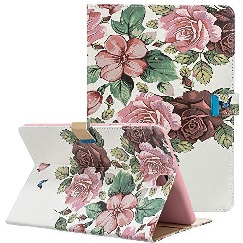 Coopts - Funda para Samsung Galaxy Tab A de 9,7 Pulgadas SM-T550/P550/T555/P555 (función Atril, función Atril, función Atril) 23-Rosa Flor