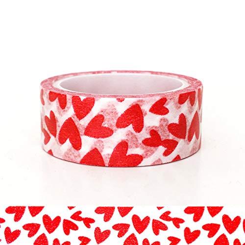 STOBOK Love Washi Tape Red Heart Pattern Cinta Adhesiva de Papel Diy...